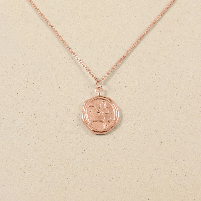 Zodiac Seal Kette Rose Gold Vermeil