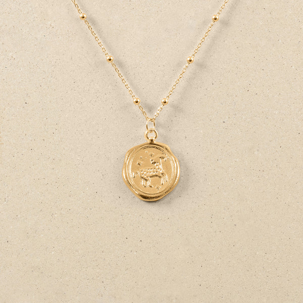 Zodiac Seal Satellite Necklace 24ct Gold Vermeil