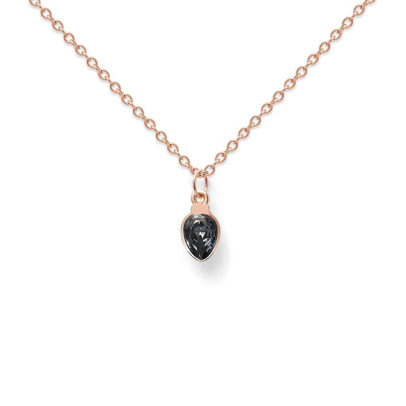 Amparo Kette Black Crystal Jewelry nilam-farooq 925 Silver Rose Gold Plated S (45cm)