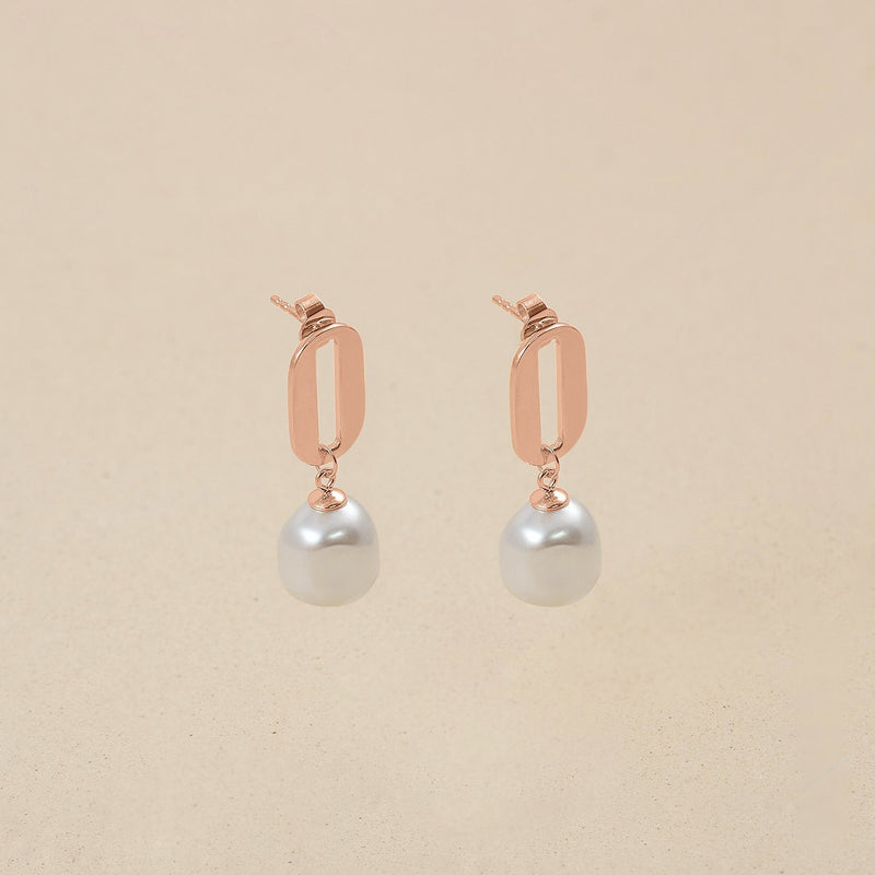 Baroque Pearl O Ohrringe Jewelry stilnest Rose Gold Vermeil