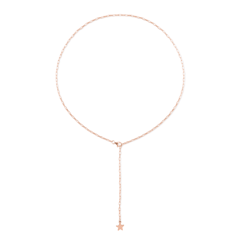 Barring Chain Petite Star Charm Kette Jewelry frau-hoelle Rose Gold Vermeil 50 cm