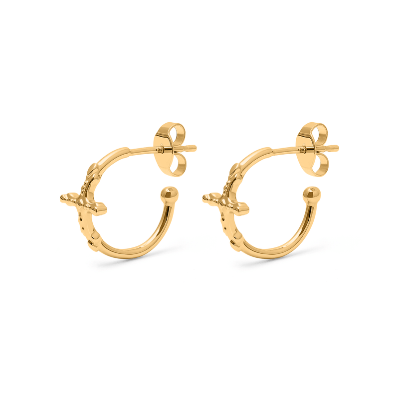 Belief Cross Ear Hoops Jewelry phiaka 925 Silver Gold Plated