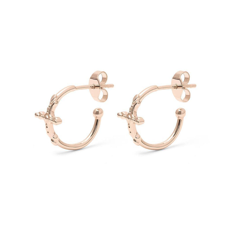 Belief Cross Ear Hoops Jewelry phiaka 925 Silver Rose Gold Plated