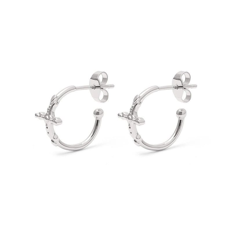 Belief Cross Ear Hoops Jewelry phiaka Rhodium Plated 925 Silver