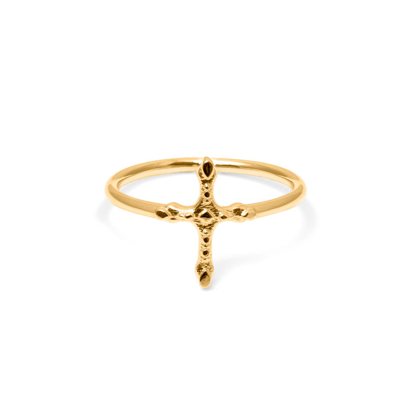 Belief Cross Ring Jewelry phiaka 925 Silver Gold Plated L - 60 (19.1mm)