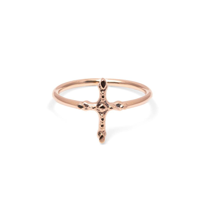 Belief Cross Ring Jewelry phiaka 925 Silver Rose Gold Plated L - 60 (19.1mm)