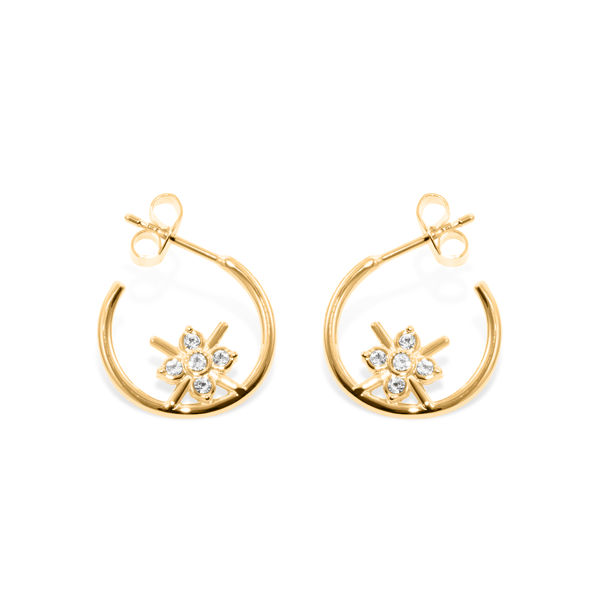 Bloom Ear Hoops Jewelry phiaka 925 Silver Gold Plated