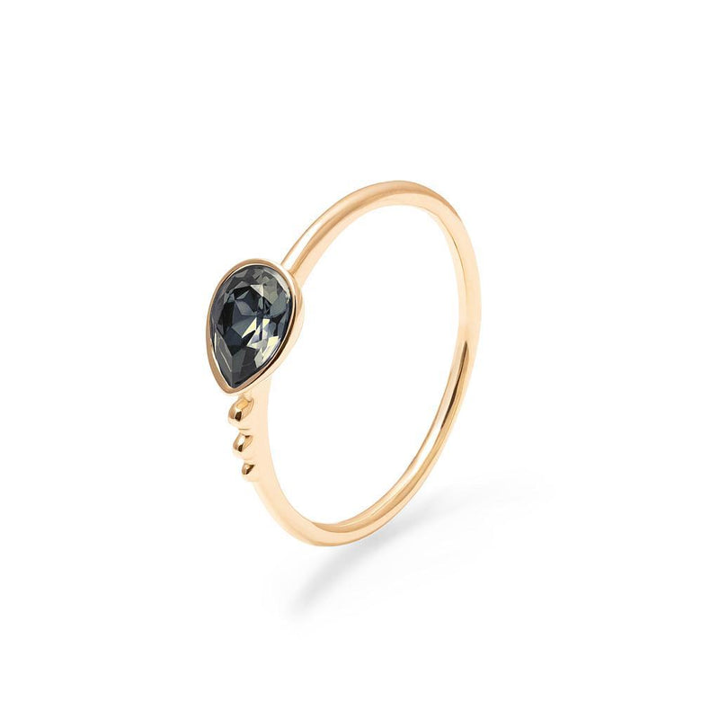 Buenaventura Ring Black Crystal Jewelry nilam-farooq 925 Silver Gold Plated XS - 49 (15.6mm)
