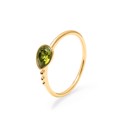 Buenaventura Ring Olivine Jewelry nilam-farooq 925 Silver Gold Plated XS - 49 (15.6mm)