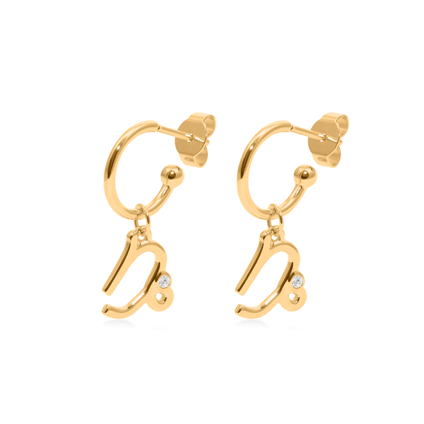 Capricorn Hoop Jewelry luisa-lion 24ct Gold Vermeil Pair