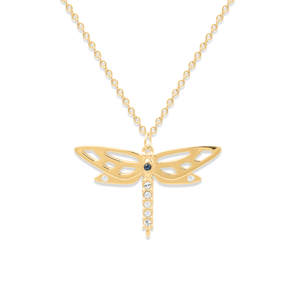 Dragonfly Kette Jewelry candik-lein 925 Silver Gold Plated S (45cm)