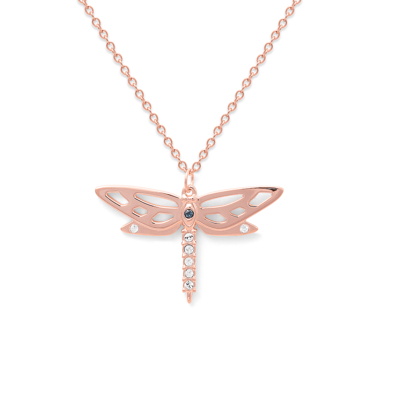 Dragonfly Kette Jewelry candik-lein 925 Silver Rose Gold Plated S (45cm)