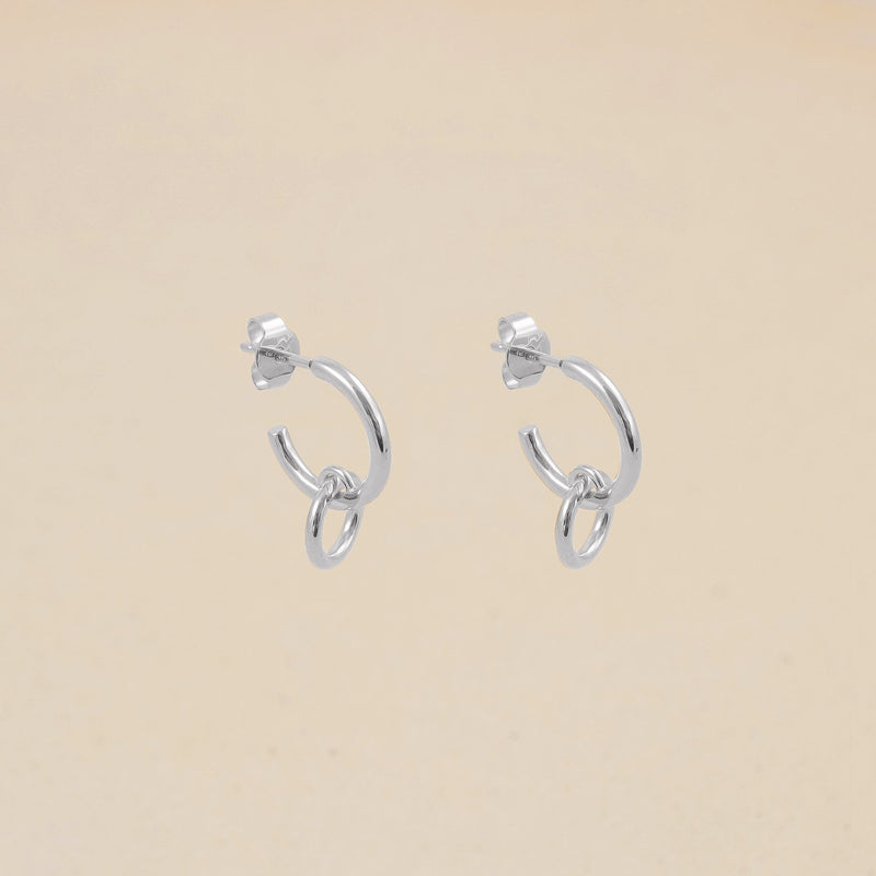 Duo Hoop Ohrringe Jewelry stilnest Rhodium Plated 925 Silver