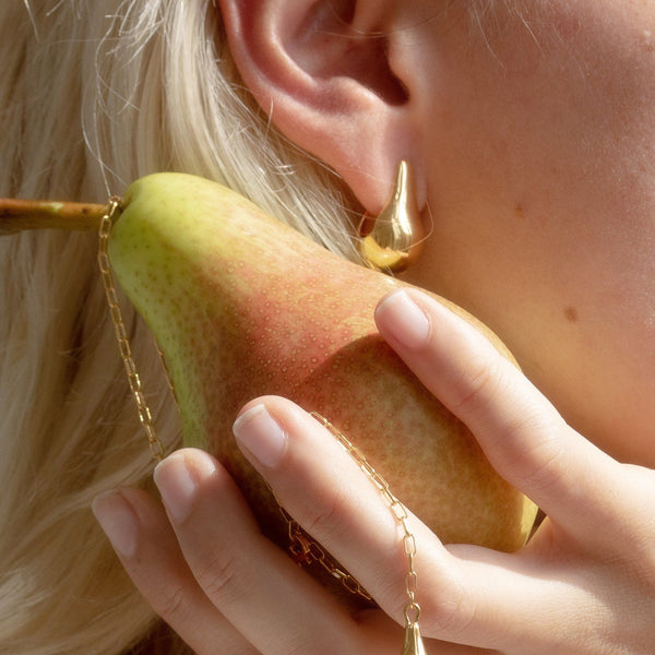 Eden Pear Hoop Earrings - Solid Gold Jewelry Stilnest