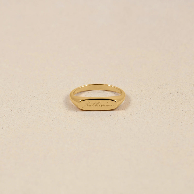 First Name Ring Jewelry stilnest 24ct Gold Vermeil XS - 49 (15.6mm)