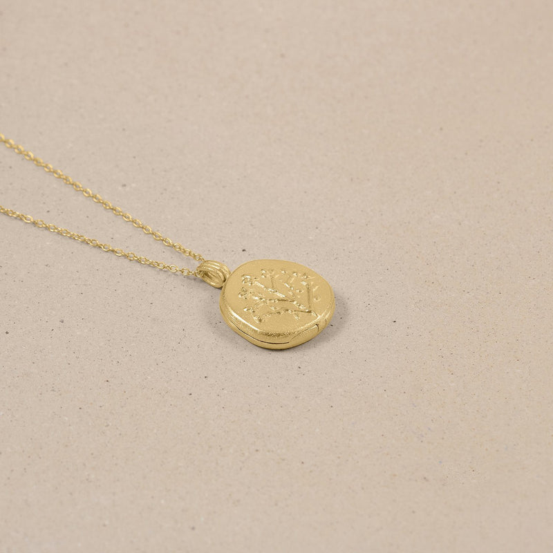 Floral Locket Kette 14k Massivgold Jewelry stilnest
