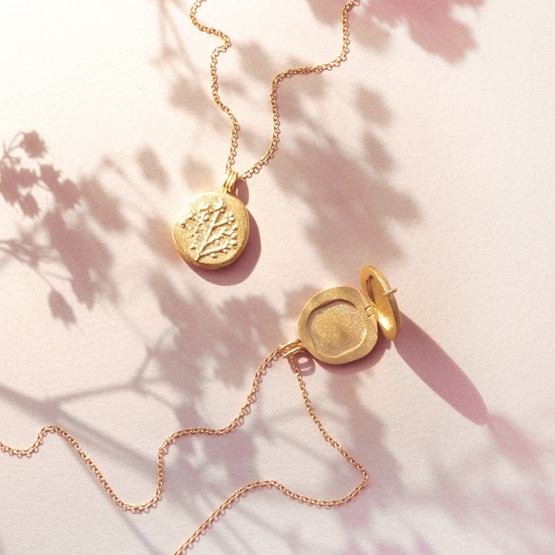 Floral Locket Kette Solid Gold 14 ct Jewelry stilnest