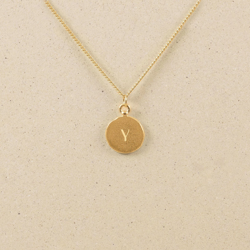 Fluid Letter Medallion Kette Jewelry stilnest 24ct Gold Vermeil S (45cm)