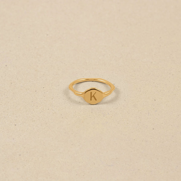 Fluid Letter Ring - Hochglanz Jewelry stilnest 24ct Gold Vermeil L - 60 (19.1mm)