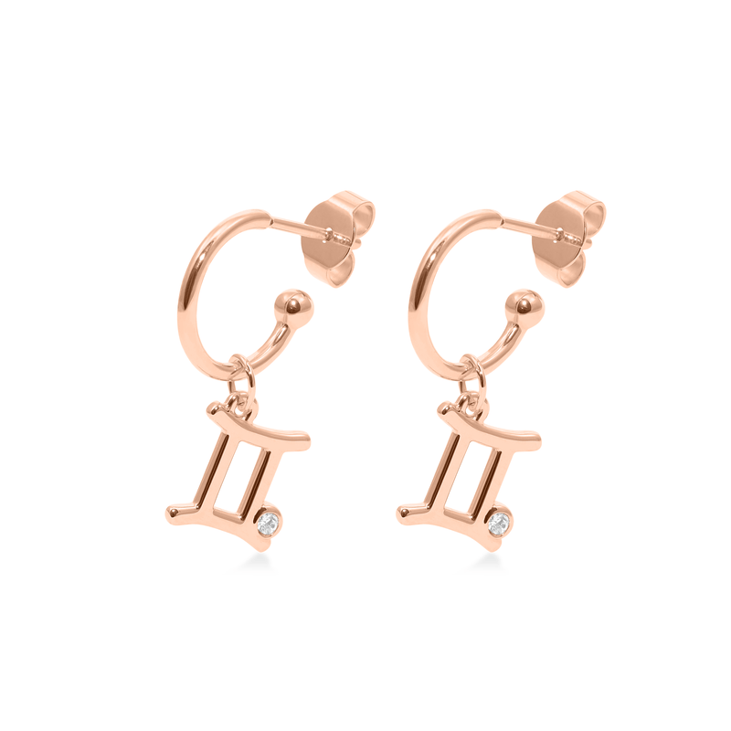 Gemini Hoop Jewelry luisa-lion Rose Gold Vermeil Pair