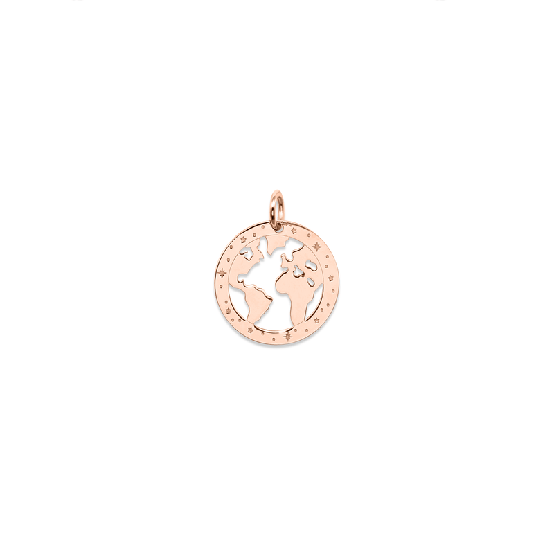 Globetrotter Worldmap Anhänger Jewelry luisa-lion 925 Silver Rose Gold Plated