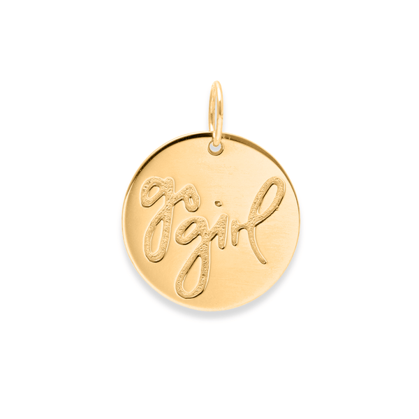 Go Girl Anhänger #femboss Jewelry frau-hoelle 925 Silver Gold Plated