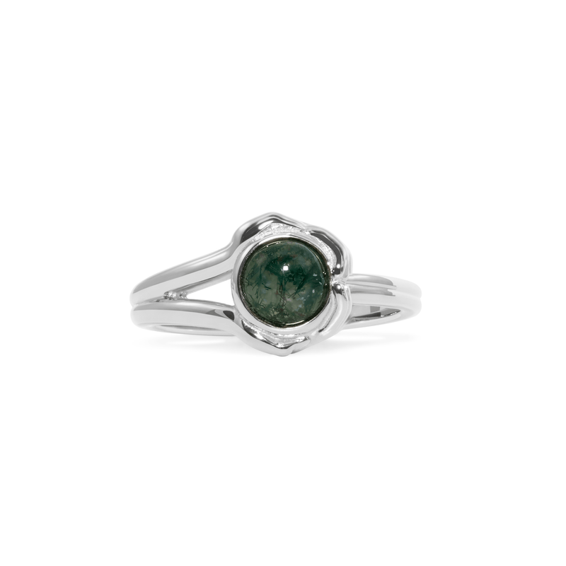 Gypsy Girl Crystal Ball Ring Moss Agate Jewelry jacko-wusch 925 Silver XS - 49 (15.6mm)