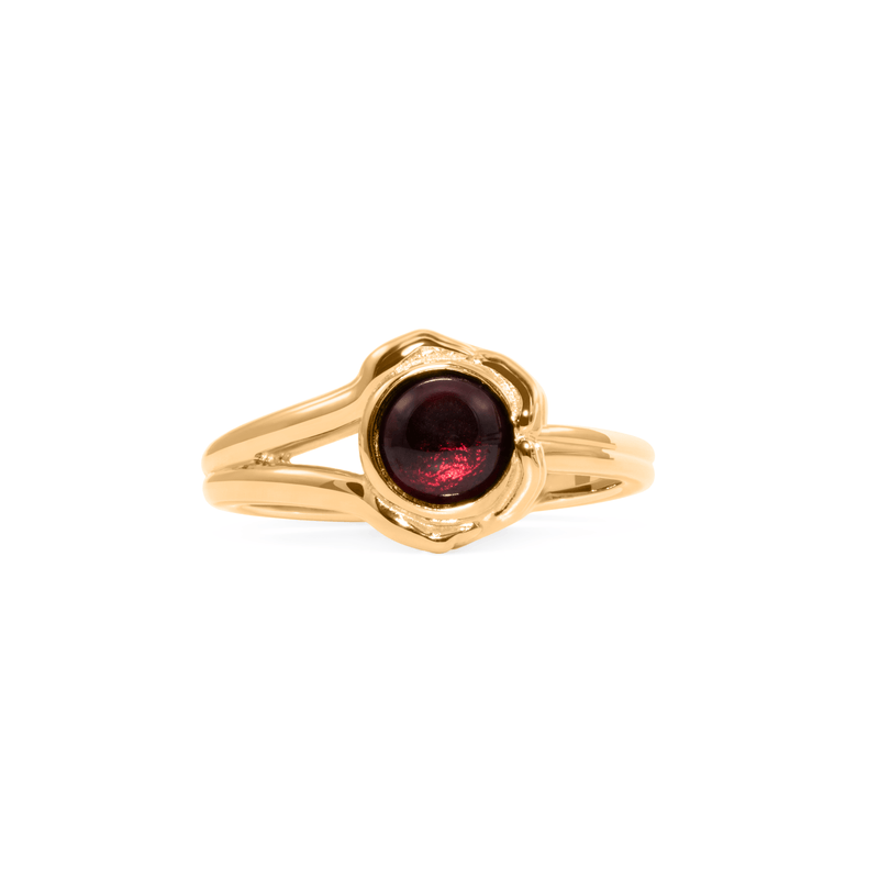 Gypsy Girl Kristall Ball Ring Garnet Jewelry jacko-wusch 925 Silver Gold Plated S - 52 (16.6mm)