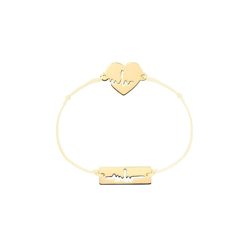 Heartbeat Charm Jewelry marina-hoermanseder 925 Silver Gold Plated Beige