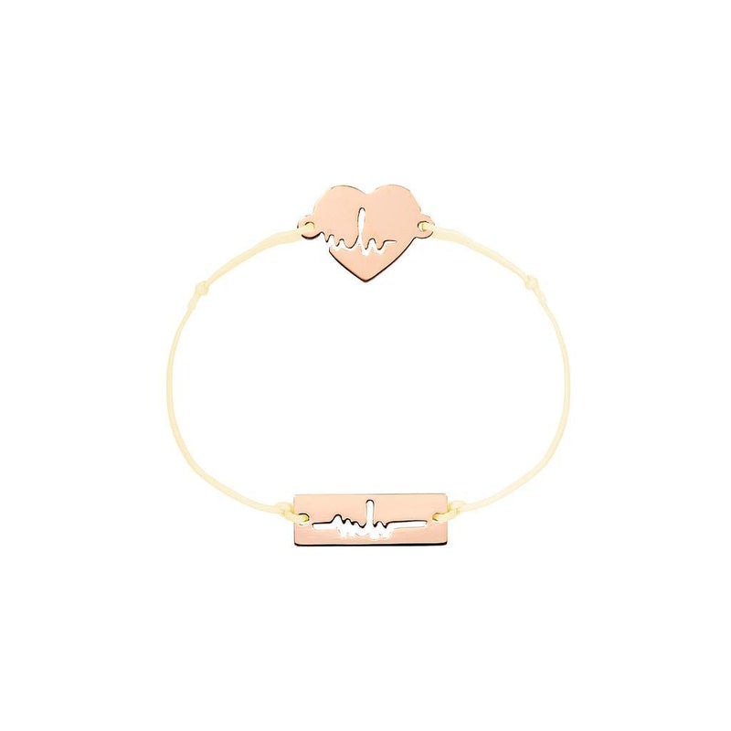 Heartbeat Charm Jewelry marina-hoermanseder 925 Silver Rose Gold Plated Beige