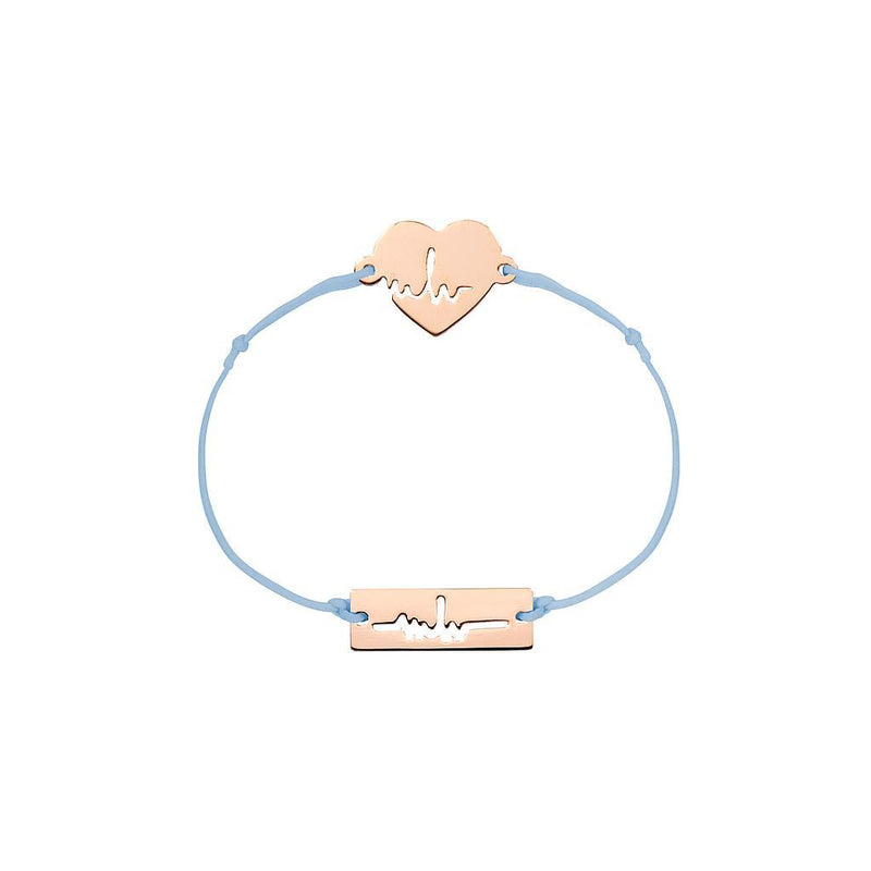 Heartbeat Charm Jewelry marina-hoermanseder 925 Silver Rose Gold Plated Blue