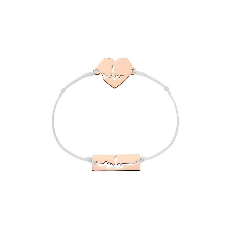 Heartbeat Charm Jewelry marina-hoermanseder 925 Silver Rose Gold Plated Light Gray