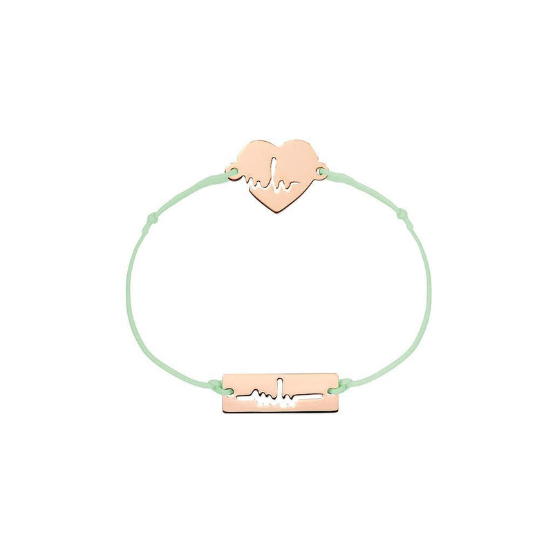 Heartbeat Charm Jewelry marina-hoermanseder 925 Silver Rose Gold Plated Pale Green