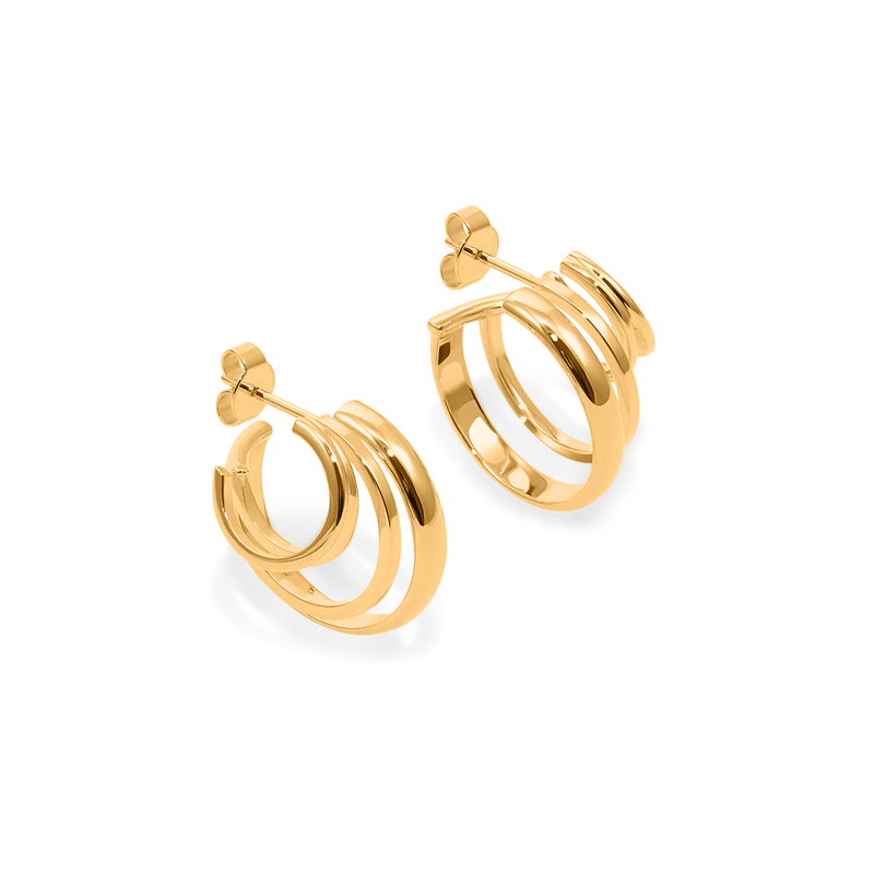 London Stacked Hoops Jewelry sammi-maria 24ct Gold Vermeil