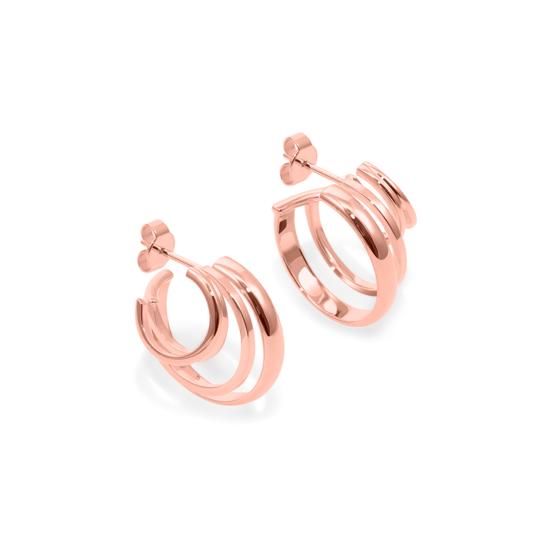 London Stacked Hoops Jewelry sammi-maria Rose Gold Vermeil