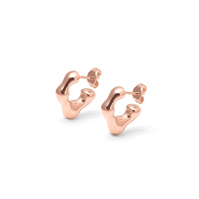 L'Or Liquide Mini Ear hoops Jewelry teetharejade 925 Silver Rose Gold Plated