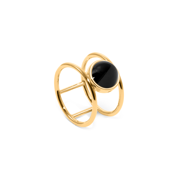 Magic Spell Double Ring Onyx Jewelry jacko-wusch 925 Silver Gold Plated XS - 49 (15.6mm)