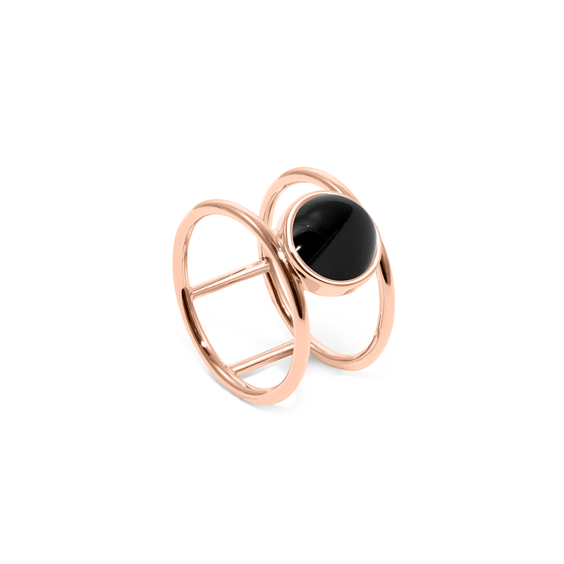 Magic Spell Double Ring Onyx Jewelry jacko-wusch 925 Silver Rose Gold Plated S - 52 (16.6mm)