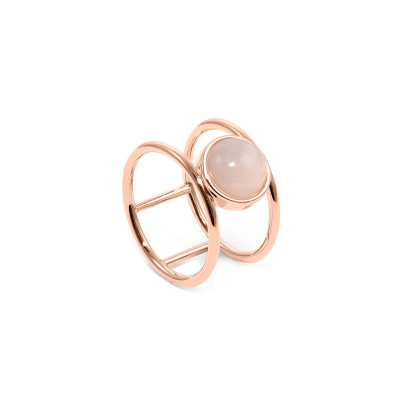 Magic Spell Double Ring Rosenquarz Jewelry jacko-wusch 925 Silver Rose Gold Plated S - 52 (16.6mm)