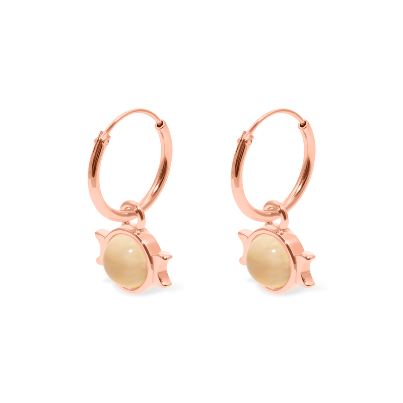 Magic Spell Ear Hoops Nr.1 Mondstein Jewelry jacko-wusch 925 Silver Rose Gold Plated 12mm