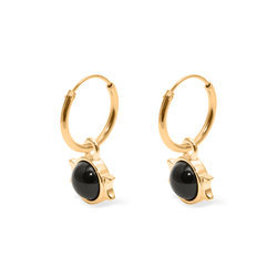 Magic Spell Ear Hoops Nr.1 Onyx Jewelry jacko-wusch 925 Silver Gold Plated 12mm