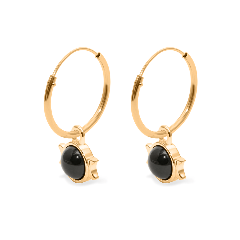 Magic Spell Ear Hoops Nr.1 Onyx Jewelry jacko-wusch 925 Silver Gold Plated 16mm