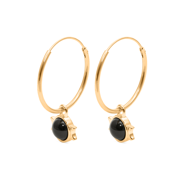 Magic Spell Ear Hoops Nr.1 Onyx Jewelry jacko-wusch 925 Silver Gold Plated 21mm
