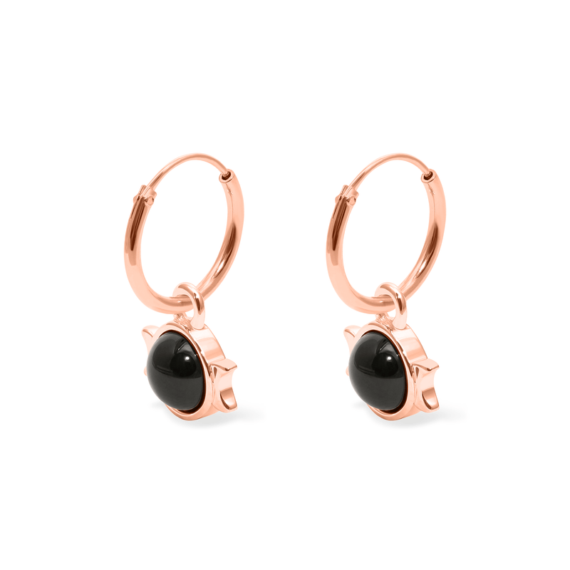 Magic Spell Ear Hoops Nr.1 Onyx Jewelry jacko-wusch 925 Silver Rose Gold Plated 12mm
