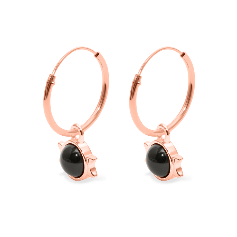 Magic Spell Ear Hoops Nr.1 Onyx Jewelry jacko-wusch 925 Silver Rose Gold Plated 16mm