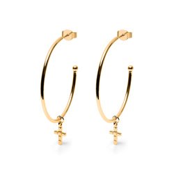 Make a Wish Cross Ear Hoops Jewelry luisa-lion 925 Silver Gold Plated