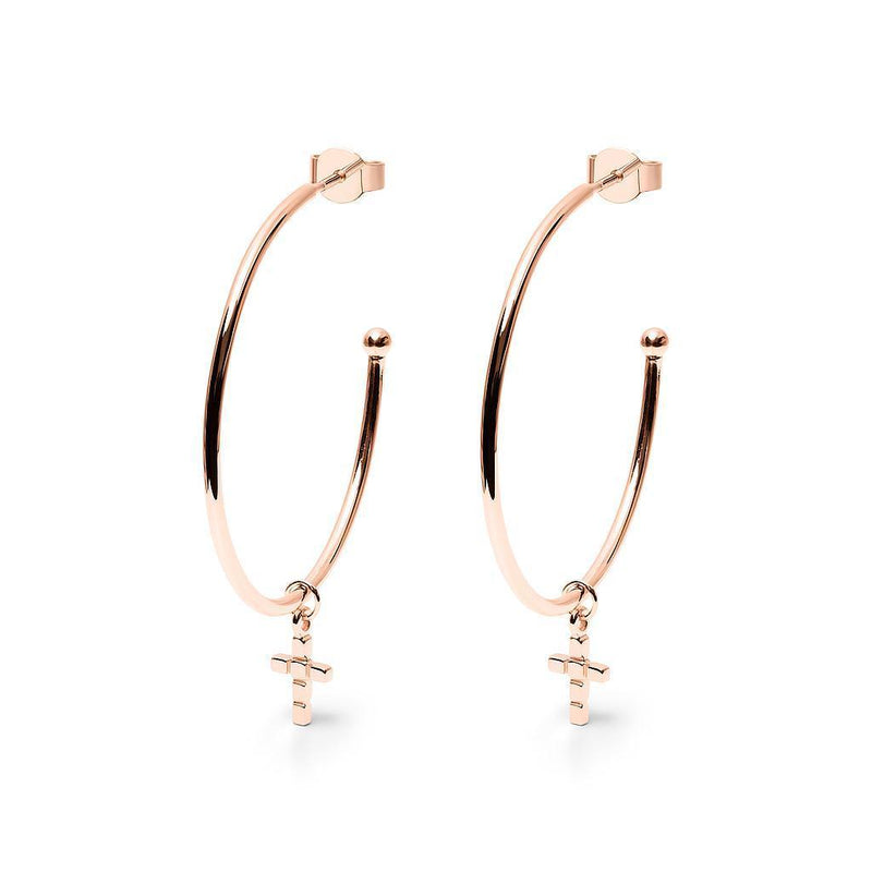 Make a Wish Cross Ear Hoops Jewelry luisa-lion 925 Silver Rose Gold Plated