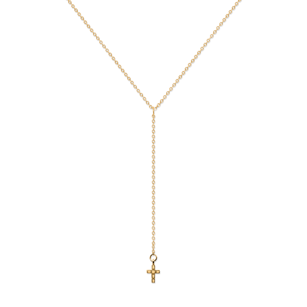 Make a Wish Cross Lariat Choker Jewelry luisa-lion 925 Silver Gold Plated
