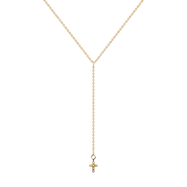 Make a Wish Cross Lariat Kette Jewelry luisa-lion 925 Silver Gold Plated S (45cm)