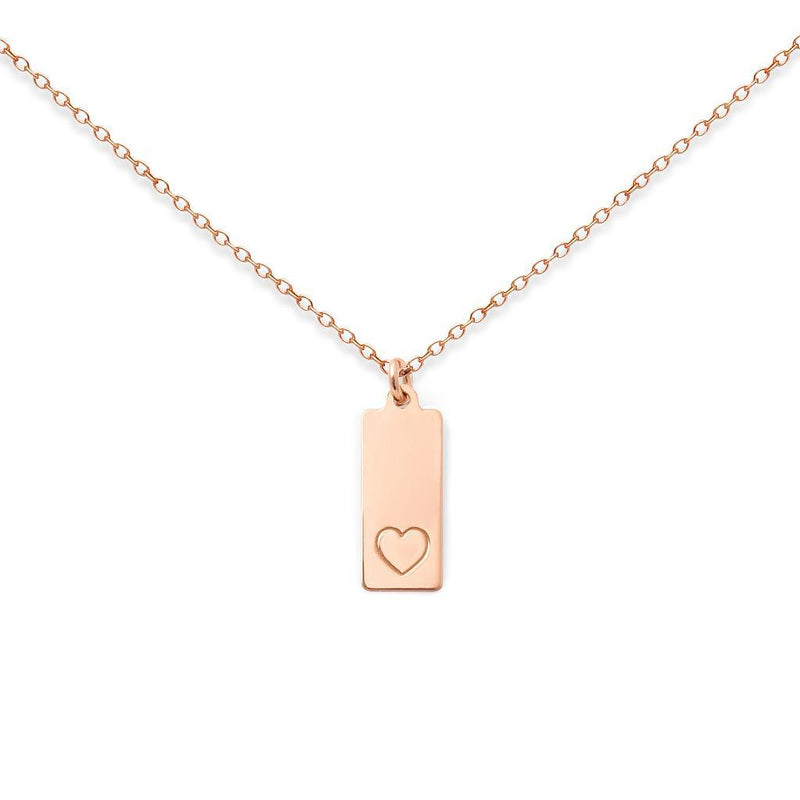 Make a Wish Herz Tag Kette Jewelry luisa-lion 925 Silver Rose Gold Plated S (45cm)